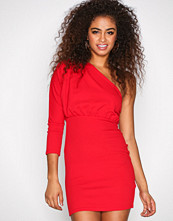 Missguided Red Plated One Shoulder Dress