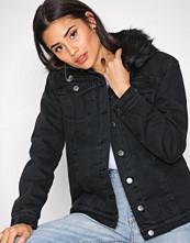 New Look Black Faux Fur Denim Jacket