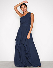 True Decadence Navy One Shoulder Ruffle Dress