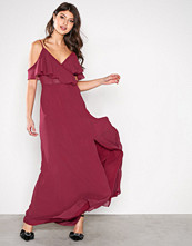 True Decadence Wine Off shoulder Frill Dress