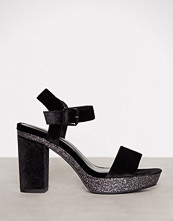 New Look Black Velvet Glitter Block Heel