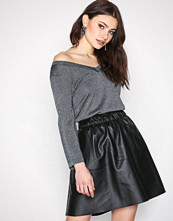 Vila Svart Viemma Faux Leather Skirt- Noos