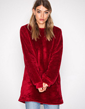 NLY Trend Burgundy Faux Fur Fluffy Sweat
