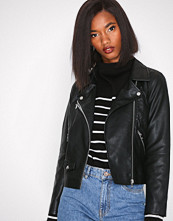 Only Svart onlSUMMER Faux Leather Crop Biker C