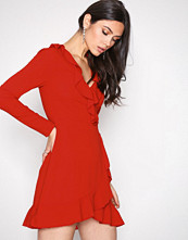 Missguided Red Ruffle Tea Dress