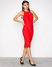 Missguided Red Crochet Lace Midi Dress