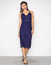 Missguided Navy Crochet Ladder Detail Midi Dress