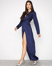 Missguided Navy Wrap Front Maxi Dress