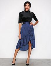 Vero Moda Mørk blå Vmhenna Satin Dot Wrap Blk Skirt Fd