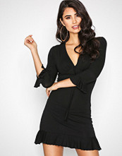 Missguided Black Plunge Wrap Dress