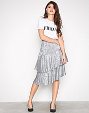 NLY Trend Sølv Pleated Metallic Skirt