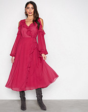 True Decadence Burgundy Cold Shoulder LS Frill Dress