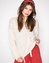 New Look Cream Threaded Lace Up Jumper