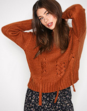 New Look Mocha Threaded Lace Up Jumper
