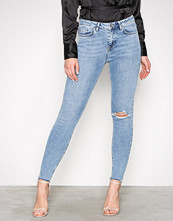 New Look Blue High Waist Ripped Knee Skinny Jeans