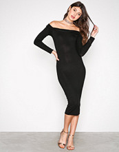 Missguided Black Bardot Bodycon Midi Dress