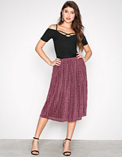 New Look Pink Glitter Pleated Midi Skirt