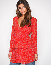 Missguided Red Polka Dot Plunge Dress