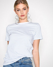 Selected Femme Blå Sfmy Perfect Ss Tee - Box Cut-Stri.