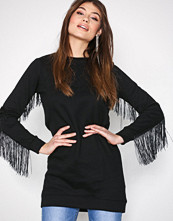 New Look Black Fringe Sweat Dress