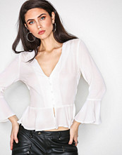 Missguided White Button Peplum Blouse