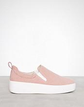 NLY Shoes Dusty Pink Fuzzy Slip In Sneaker