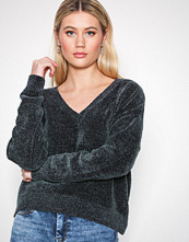 New Look Charcoal Chenille V Neck Top