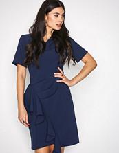 Closet Navy Asymmetric Pleated Dress