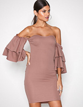 NLY One Mørk rosa Double Frill Dress