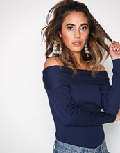 Missguided Navy Bardot Turnback Knitted Jumper