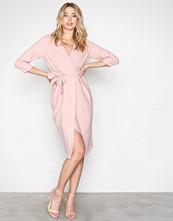 Closet Beige 3/4 Sleeve Wrap Dress