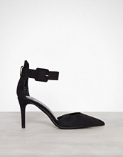 New Look Black Suedette Ankle Strap Pointed Courts