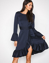Closet Navy Frill Wrap Over Hem Dress