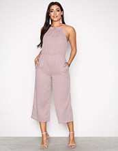 Missguided Pink Racer Neck Frill Detail Cullotte Jumpsuit