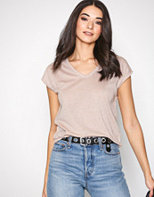 Only Lys rosa onlSILVERY S/S V Neck Lurex Top Jrs