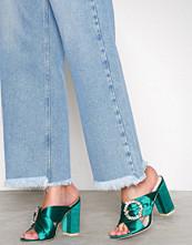 NLY Shoes Grønn Satin Embellished Mule