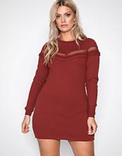 New Look Chestnut Lattice Frill Trim Sweater Dress