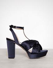 Bianco Navy Blue Satin Strap Sandal