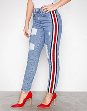 Missguided Blue Boyfriend Striped Jeans