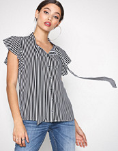 Only Svart onlELENA S/S Striped Bow Shirt Wvn