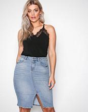 Vero Moda Blå Vmaroona Hw Slim Pencil Knee Skirt