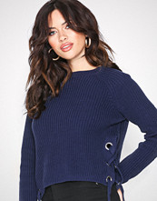 Missguided Navy Chunky Knit High Neck Jumper