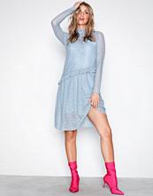 Pieces Blå Pcfilly Ls Lace Dress Ff
