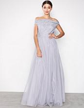 Little Mistress Grey Embroidered Mesh Dress
