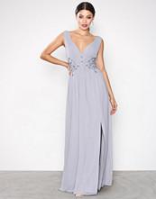 Little Mistress Grey Chiffon Trim Maxi Dress