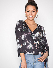 Missguided Grey Plunge Neck Tie Front Top