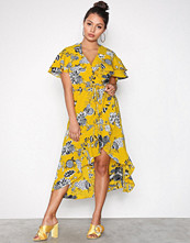 River Island Yellow Frill Waisted Dress