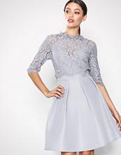 Little Mistress Grey Lace Mini Dress