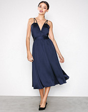 Little Mistress Navy Satin Midi Dress