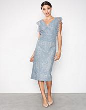 Little Mistress Dusty Blue Lace Plated Dress